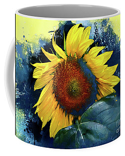 Sunflower In Blue Coffee Mug