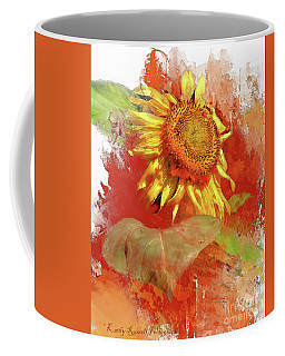 Sunflower In Red Coffee Mug