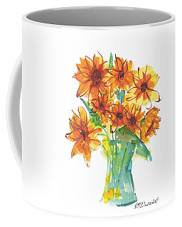 Sunflower Medley II Watercolor Painting By Kmcelwaine Coffee Mug