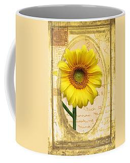 Sunflower On Vintage Postcard Coffee Mug