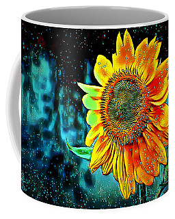 Coffee Mug featuring the digital art Sunflower Rain by Pennie McCracken