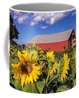 Sunflower Red Barn Coffee Mug