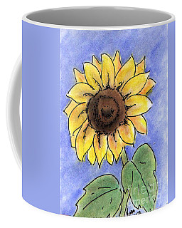 Coffee Mug featuring the drawing Sunflower by Vonda Lawson-Rosa
