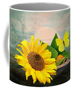 Sunflower With Butterfly Coffee Mug