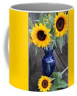 Sunflowers And Blue Vase - Still Life Coffee Mug