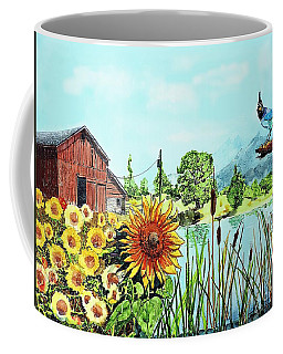 Sunflowers And Jaybird Coffee Mug
