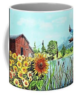 Sunflowers And Jaybird Coffee Mug
