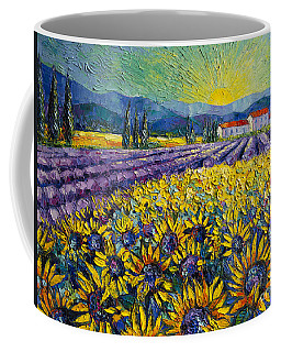 Sunflowers And Lavender Field - The Colors Of Provence Modern Impressionist Palette Knife Painting Coffee Mug