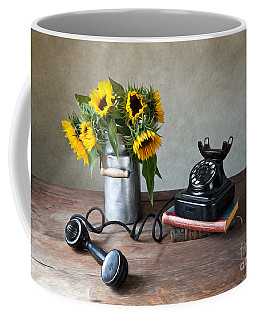 Sunflowers And Phone Coffee Mug