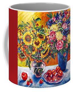 Sunflowers And Plums Coffee Mug by Alexandra Maria Ethlyn Cheshire