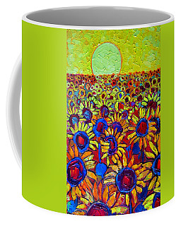 Sunflowers Field At Sunrise Coffee Mug