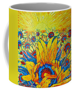 Sunflowers Field In Sunrise Light Coffee Mug