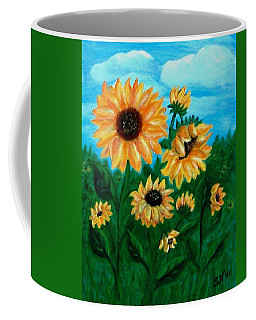 Coffee Mug featuring the painting Sunflowers For Mom by Sonya Nancy Capling-Bacle