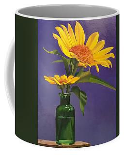 Sunflowers In A Green Bottle Coffee Mug