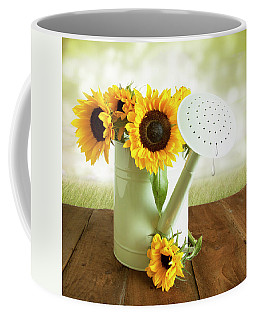 Sunflowers In An Old Watering Can Coffee Mug