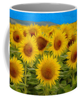Sunflowers In The Field Coffee Mug