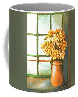 Coffee Mug featuring the painting Sunflowers In Window by Winsome Gunning