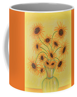 Coffee Mug featuring the painting Sunflowers by Marie Schwarzer