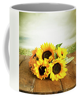 Sunflowers On A Table Coffee Mug