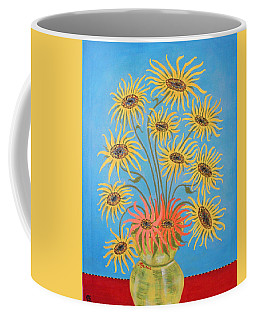 Coffee Mug featuring the painting Sunflowers On Blue by Marie Schwarzer