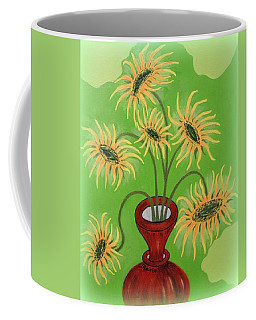 Sunflowers On Green Coffee Mug