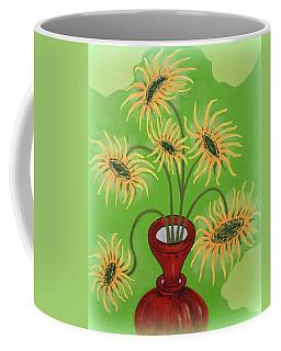 Sunflowers On Green Coffee Mug by Marie Schwarzer