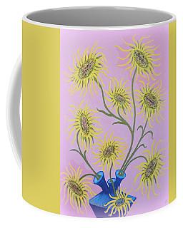 Sunflowers On Pink Coffee Mug by Marie Schwarzer