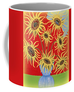 Coffee Mug featuring the painting Sunflowers On Red by Marie Schwarzer