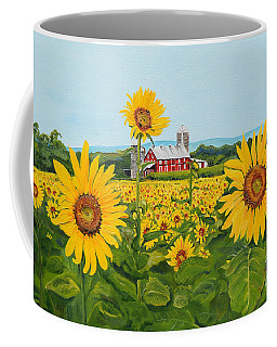 Sunflowers On Route 45 - Pennsylvania- Autumn Glow Coffee Mug
