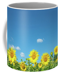 Sunflowers Under The Blue Sky Coffee Mug by Cheryl Baxter