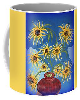 Sunflowers On Navy Blue Coffee Mug