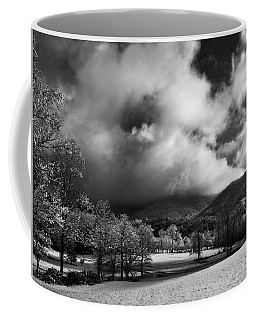 Sunlight Clouds And Snow In Black And White Coffee Mug