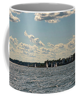 Sunlit Sailboats Norwalk Connecticut From The Water Coffee Mug by Marianne Campolongo