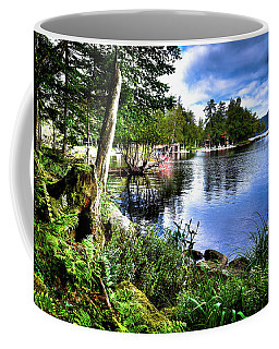 Coffee Mug featuring the photograph Sunlit Shore At Covewood by David Patterson