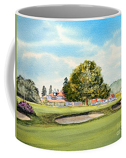 Coffee Mug featuring the painting Sunningdale Golf Course 18th Green by Bill Holkham
