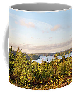 Sunny Autumn View At The Lake Hiidenvesi Coffee Mug
