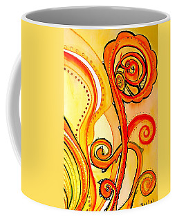 Coffee Mug featuring the painting Sunny Flower - Art By Dora Hathazi Mendes by Dora Hathazi Mendes