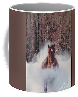 Sunny Running For The Barn. Coffee Mug by Jeffrey Koss