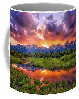Coffee Mug featuring the photograph Sunrays Over The Tetons by Darren White