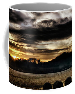 Coffee Mug featuring the photograph Sunrise And Hay Bales by Thomas R Fletcher