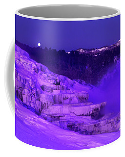 Sunrise And Moonset Over Minerva Springs Yellowstone National Park Coffee Mug