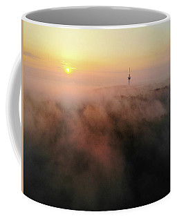 Coffee Mug featuring the photograph Sunrise And Morning Fog Warm Orange Light by Matthias Hauser