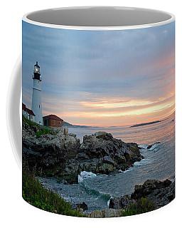 Coffee Mug featuring the photograph Sunrise At Portland Head Lighthouse by Alana Ranney