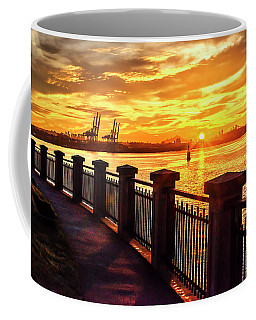 Coffee Mug featuring the photograph Sunrise At The Harbor by John Poon
