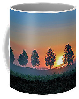 Coffee Mug featuring the photograph Sunrise Behind The Cedars by Lori Coleman
