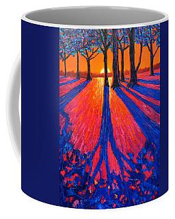 Sunrise In Glory - Long Shadows Of Trees At Dawn Coffee Mug by Ana Maria Edulescu