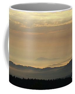 Sunrise In The Mountains - Hills In Morning Mist Coffee Mug by Michal Boubin