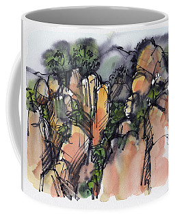 Coffee Mug featuring the painting Sunrise On The Yellow Mountain, China by Judith Kunzle
