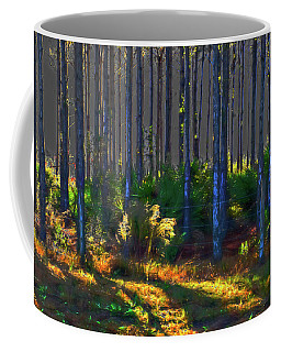 Sunrise On Tree Trunks Coffee Mug