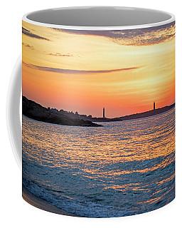 Sunrise Over Thacher Island From Long Beach In Gloucester Ma Golden Sunrise Coffee Mug
